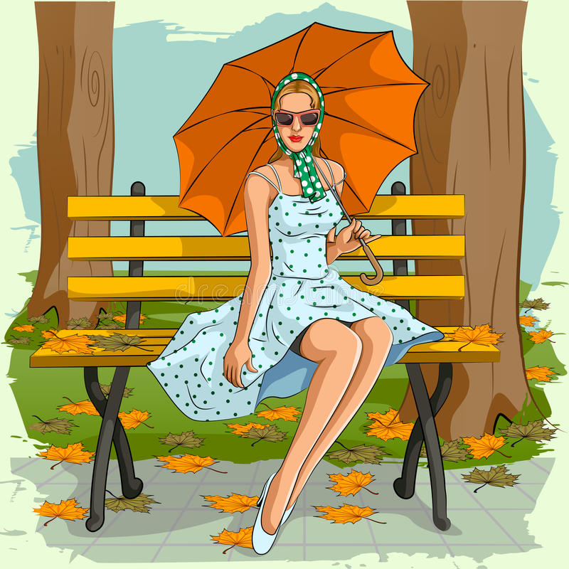 Retro donna che si siede sulla sedia del parco con l'ombrello royalty illustrazione gratis