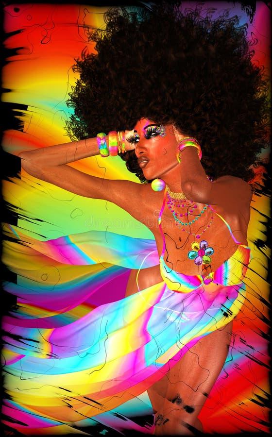Retro donna di afro su fondo variopinto illustrazione vettoriale