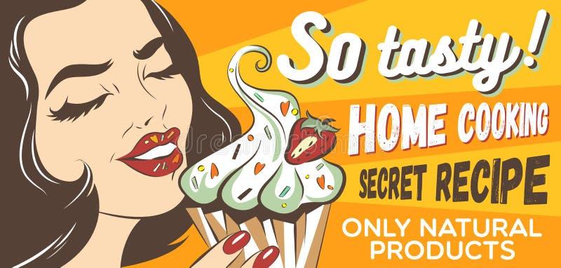 Retro donna disegnata che mangia dolce con crema e la bacca Illustrazione di Pop art della ragazza con il brownie Stampa dei vest royalty illustrazione gratis