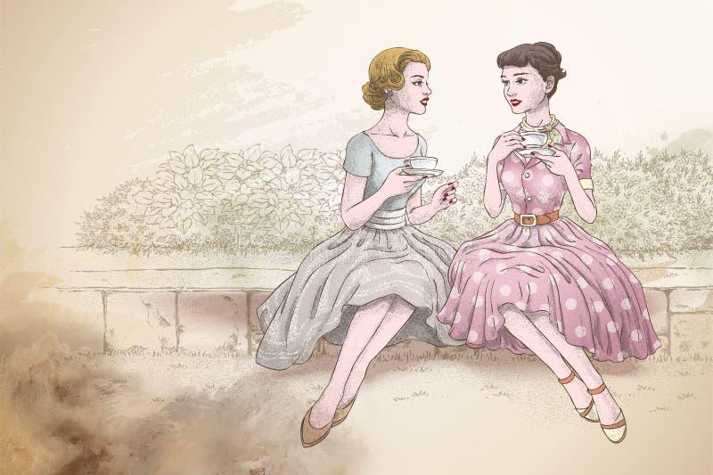 Retro donne che mangiano tè insieme illustrazione di stock