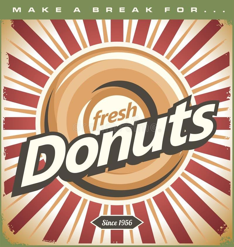 Retro Donuts Poster. Promotional tin sign illustration royalty free illustration
