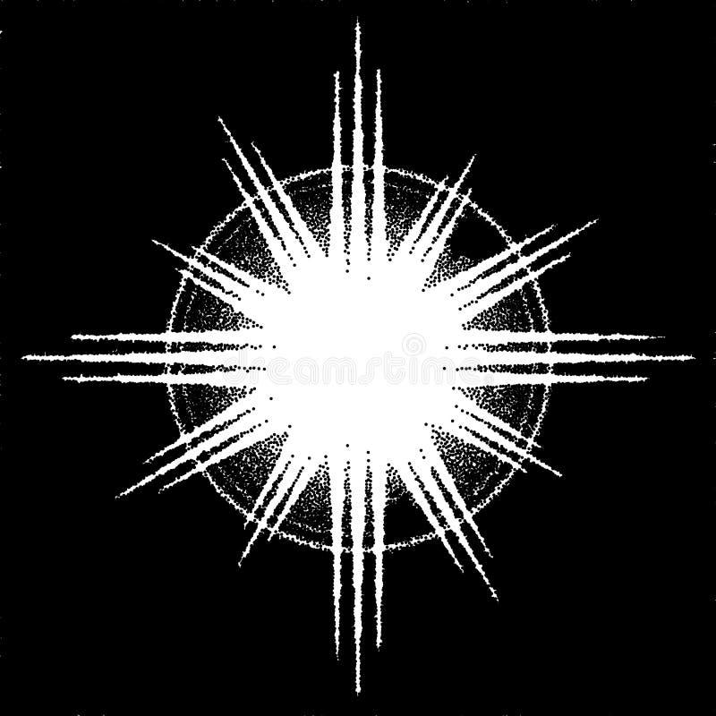 Retro dotworkzonnestraal of explosie met stralen royalty-vrije illustratie