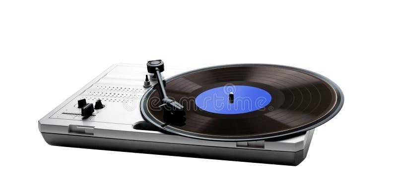 Retro draagbaar draaischijf en vinyl stock foto