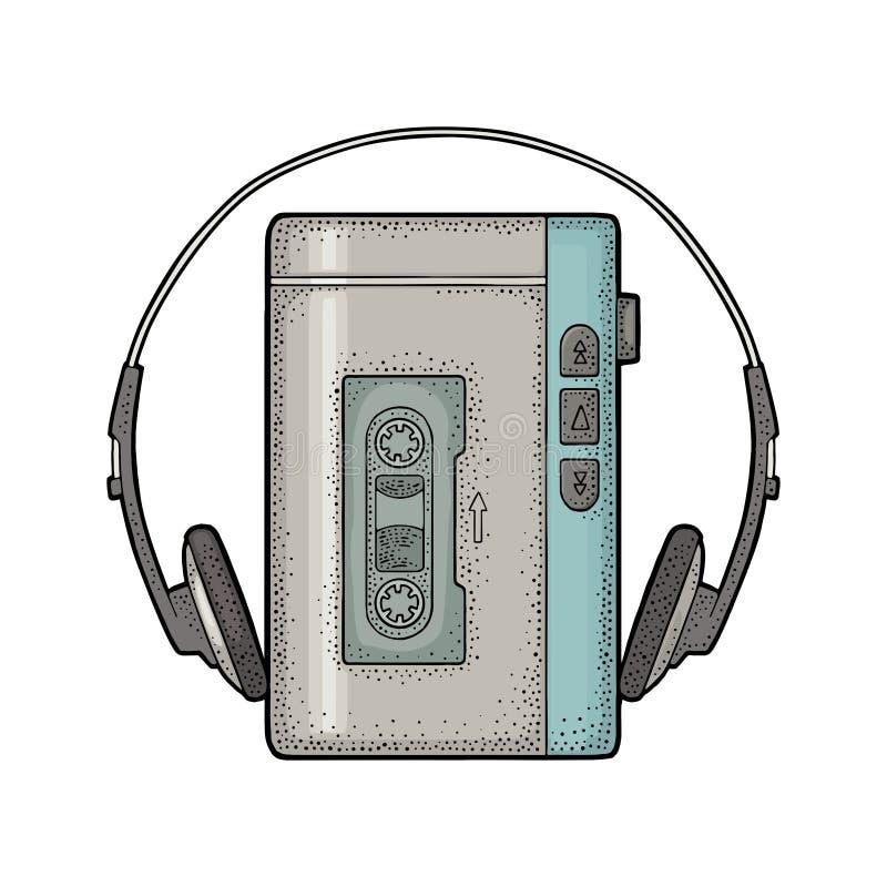 Retro draagbare audiobandrecorder met hoofdtelefoons Uitstekende zwarte gravure stock illustratie