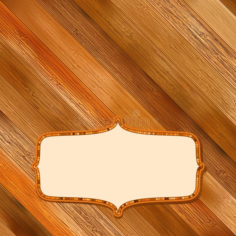 Retro drewniana rama z przestrzenią. + EPS8 royalty ilustracja