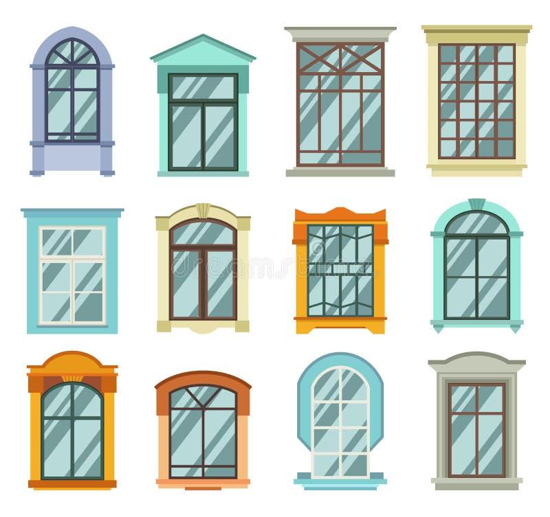 Retro drewno lub drewniany nadokiennych ram widok odizolowywający na dom ścianie ilustracji