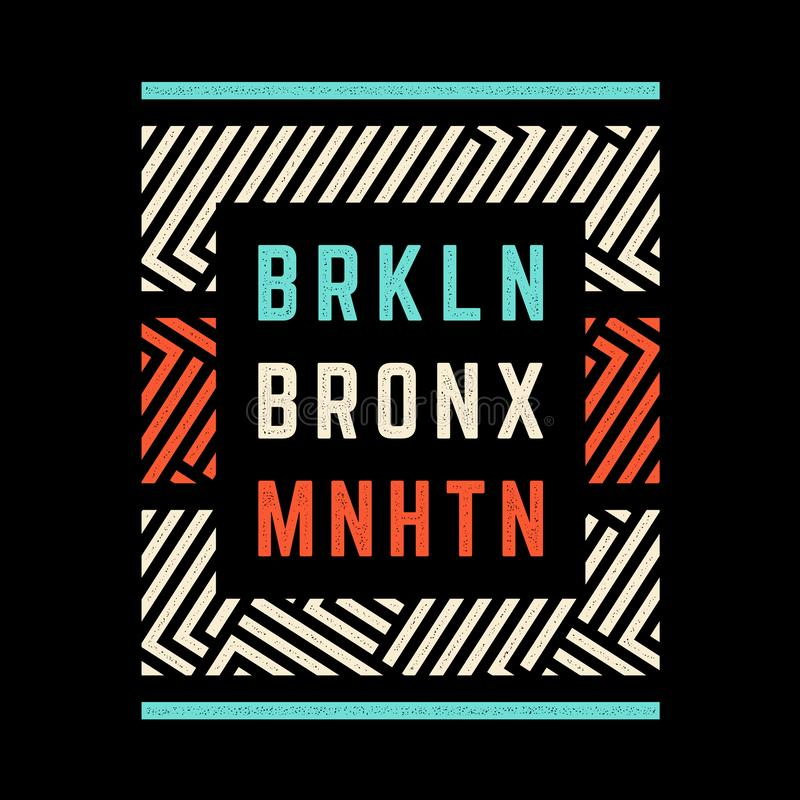 Retro druk van Brooklyn stock illustratie