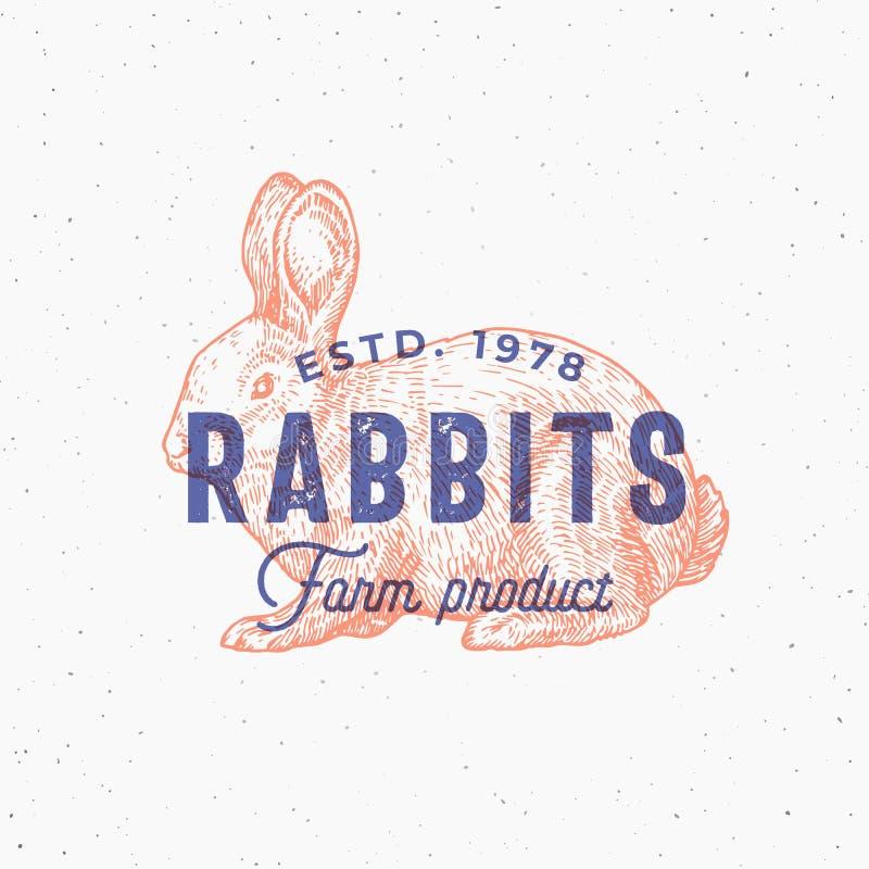 Retro druku skutka wektoru Abstrakcjonistyczny znak, symbol lub loga szablon, Ręka Rysujący królika Sillhouette nakreślenie z typ ilustracja wektor