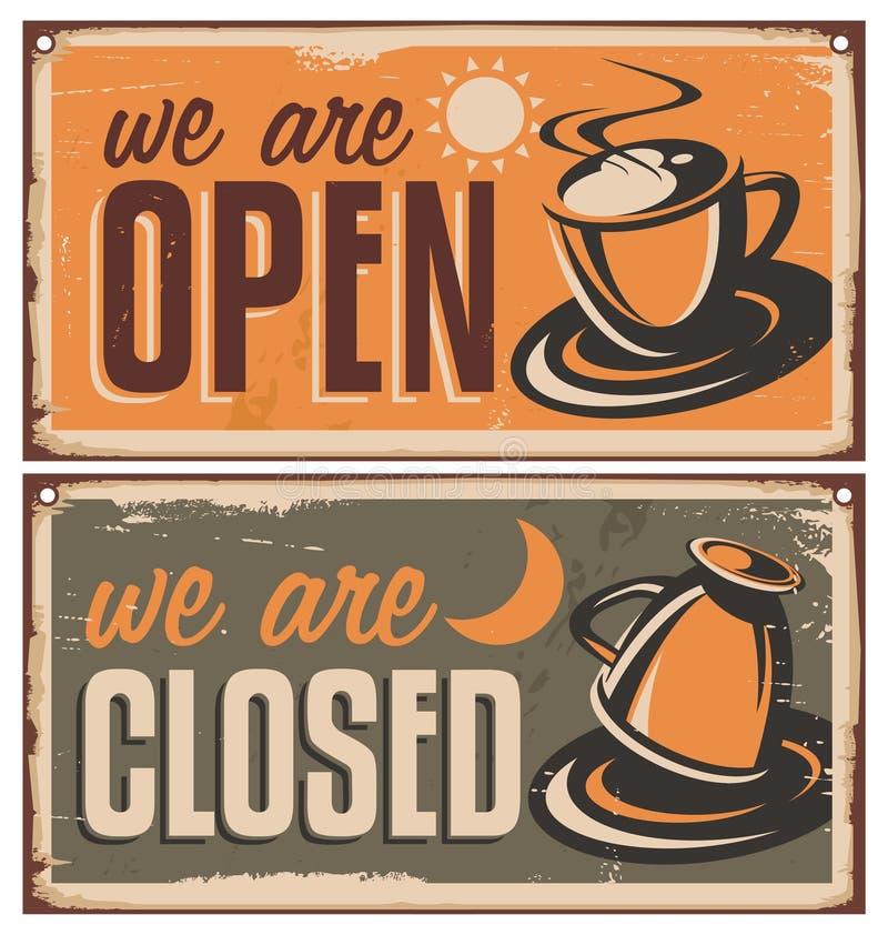Retro drzwi znaki dla sklep z kawą lub kawiarni baru ilustracji