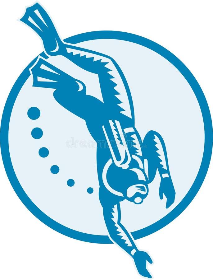 Retro Duiken van de scuba-duiker royalty-vrije illustratie