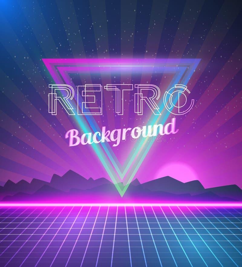Retro dyskoteki 80s Neonowy plakat robić w Tron stylu z trójbokami, F ilustracja wektor