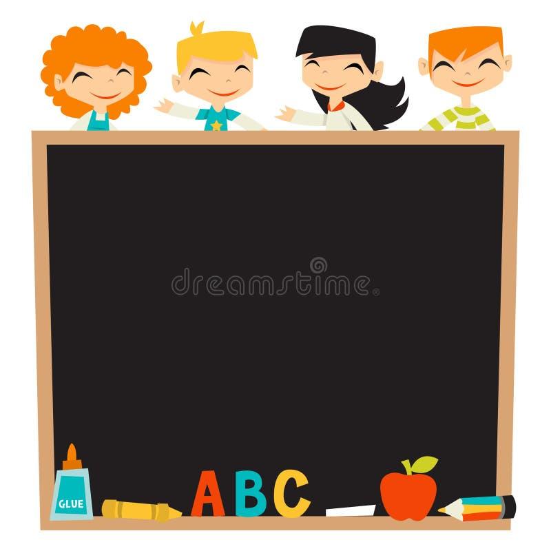 Retro dzieciaki Z powrotem szkoły Blackboard kopii przestrzeń ilustracja wektor
