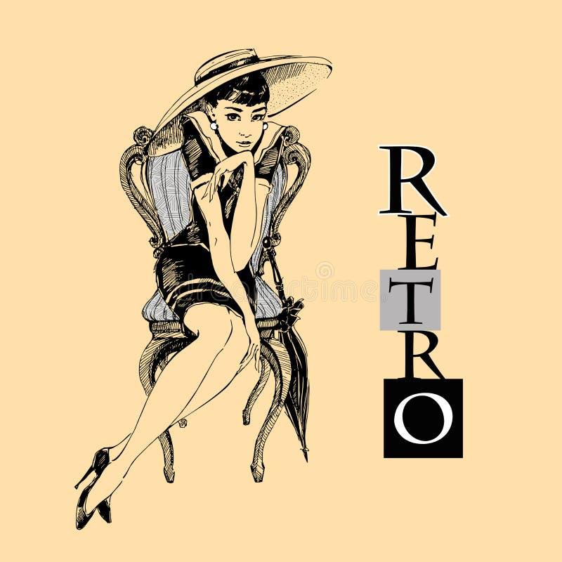 Retro dziewczyna w kapeluszu pani elegancka grafit wektor ilustracja wektor