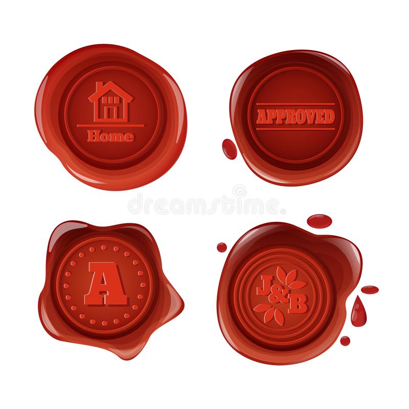 Retro e guarnizioni rosse d'annata della cera, con il logos, icone, pittogrammi illustrazione vettoriale