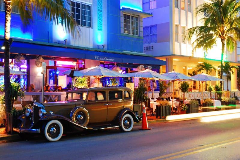 Retro e notti d'annata di Miami fotografie stock