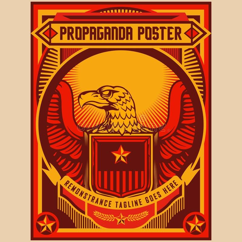 Retro Eagle Propaganda Posters Elements Background Set vector illustration