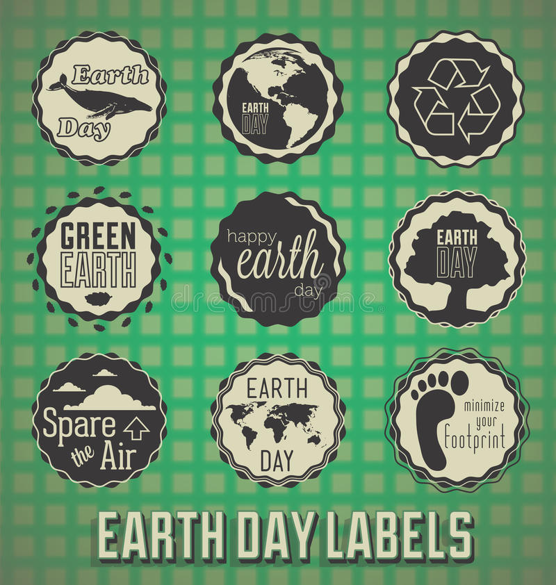 Retro Earth Day Labels and Icons. Collection of retro style Earth Day labels with green grid background royalty free illustration