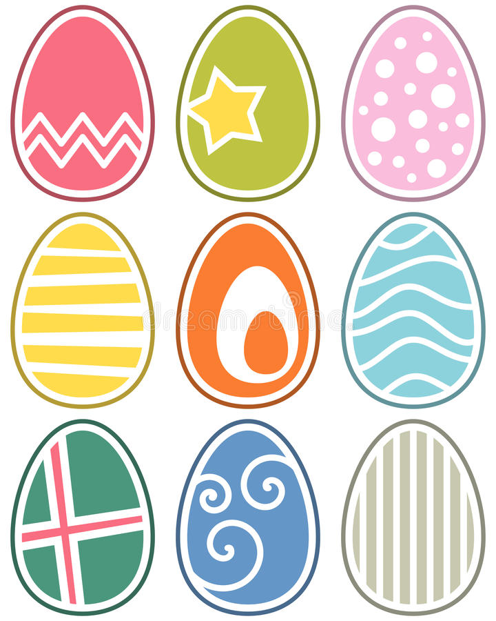 Retro Easter Eggs Set. Collection of colorful retro Easter eggs. Eps file available royalty free illustration