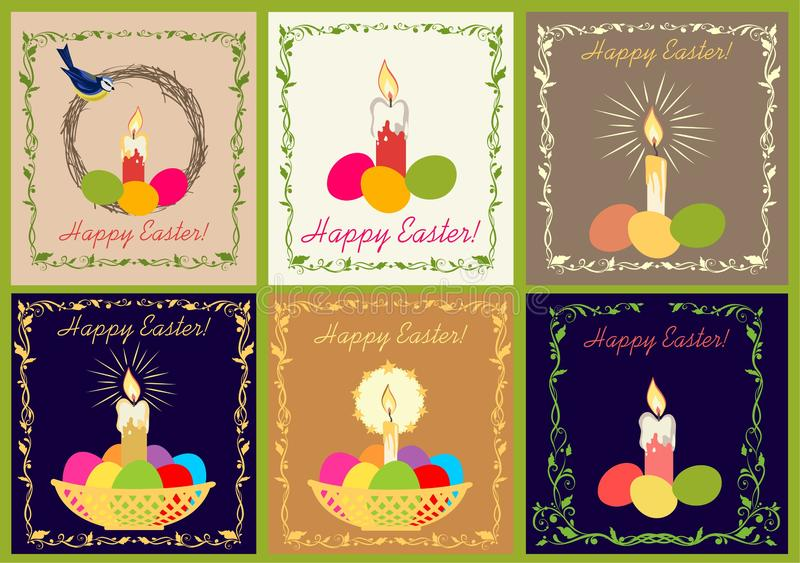 Retro Easter greeting cards collection with candle and painted eggs royalty free illustration