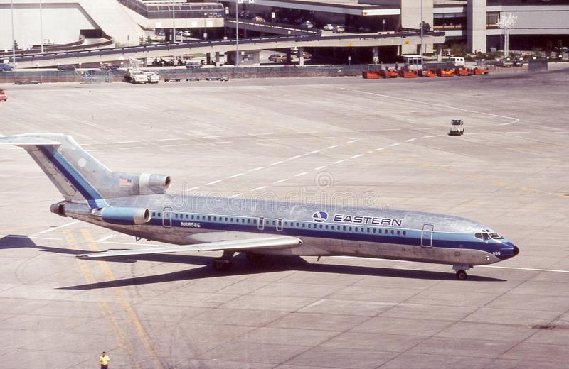 Retro Eastern Airlines Boeing 727 on Tarmac. Image taken from a color slide royalty free stock photos