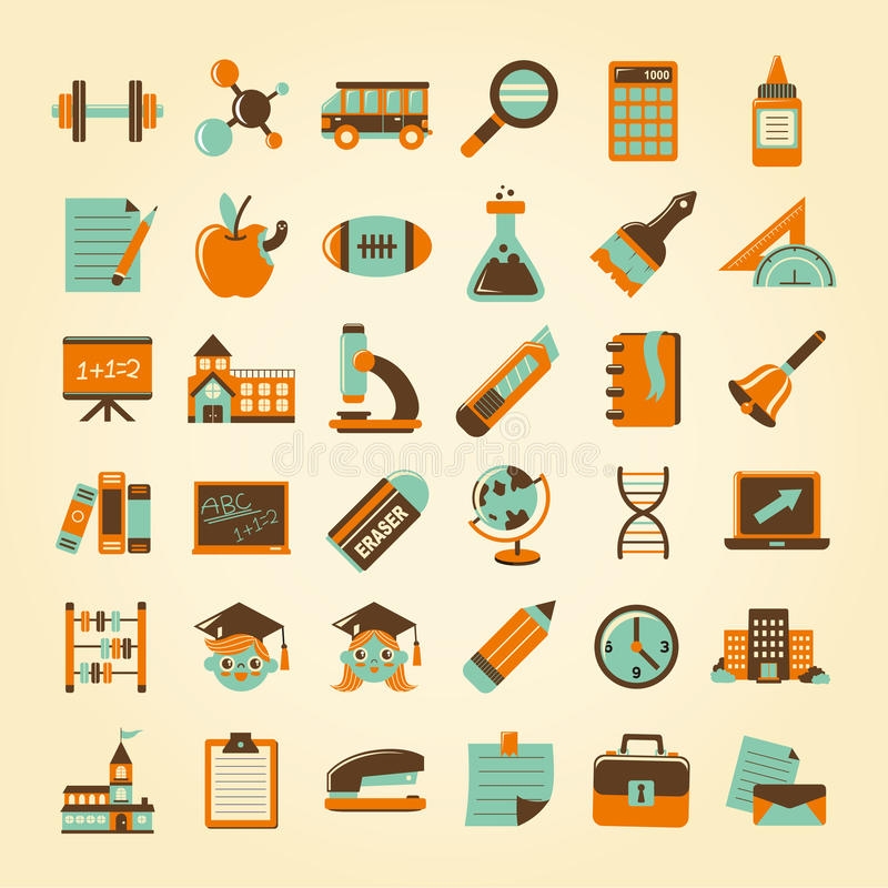 Download Retro Education Icons Set,back To School Stock Vector - Illustration of isolated, college: 34543040