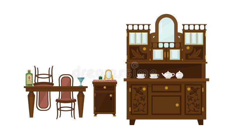 Retro eetkamerbinnenland met lijst, stoelen en buffet vectorillustratie vector illustratie