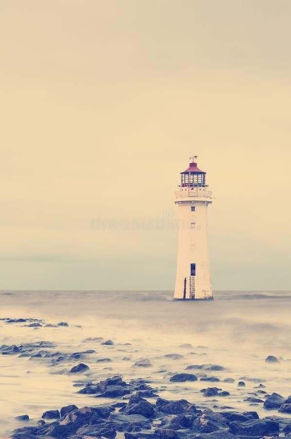 Retro effetto d'annata del filtro dalla foto - nuovo Brighton Perch Rock Light House, Merseyside, Birkenhead, il Wirrel, Inghilte fotografia stock