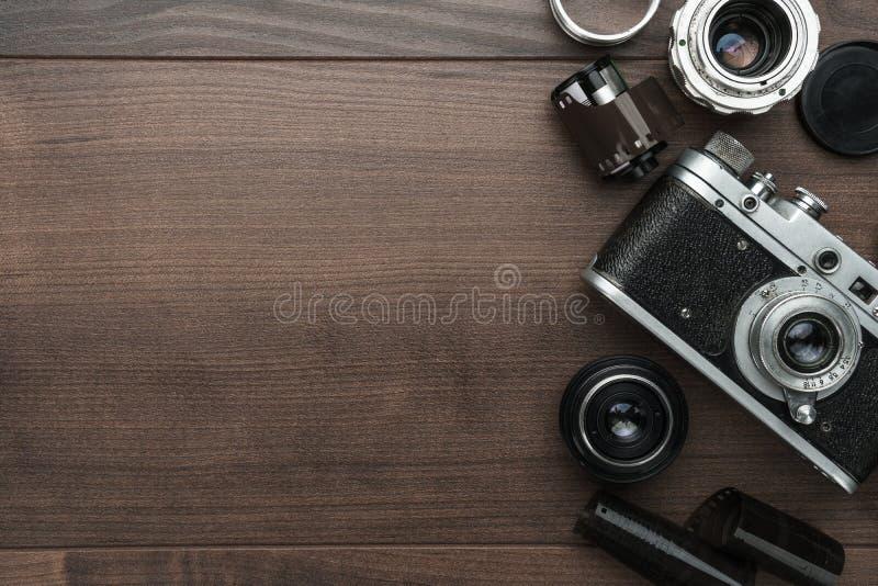 Retro ekranowa kamera i niektóre obiektywy obrazy royalty free