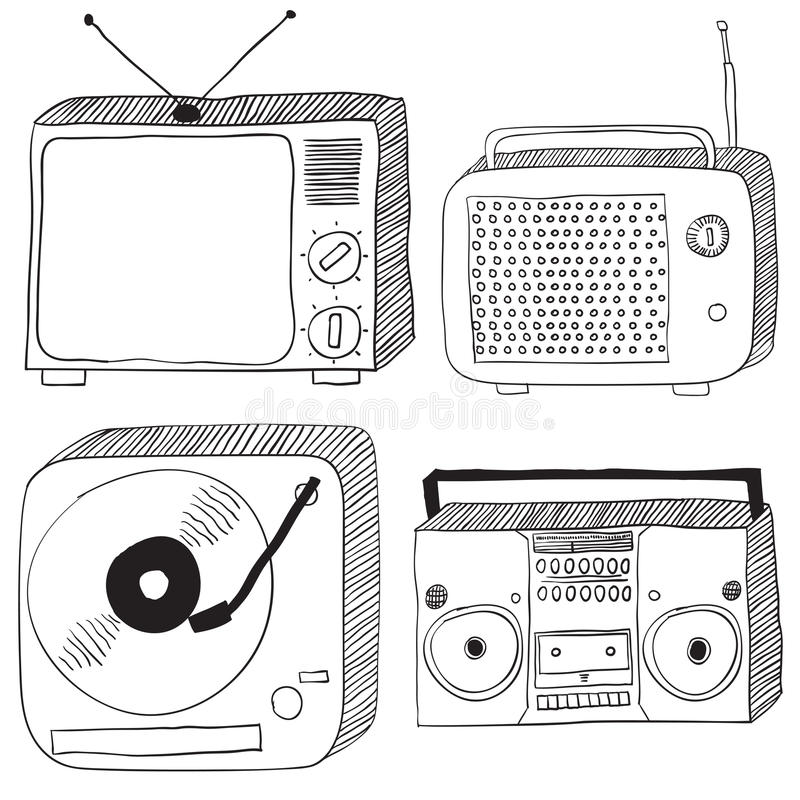 Retro electronics. Hand drawn black retro electronics set : tv, radio, turntable and portable cassette player vector illustration