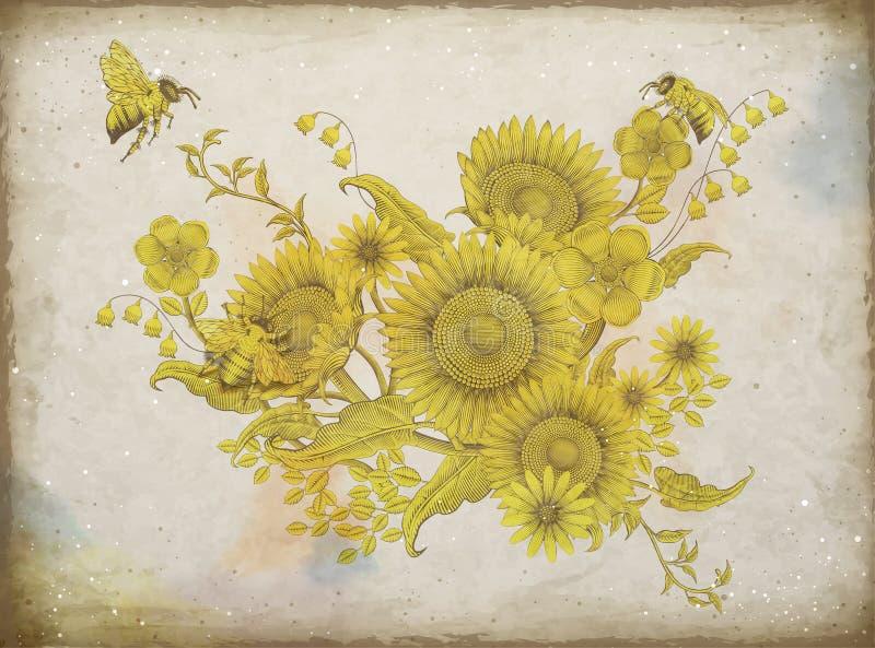 Retro elegant bloemenontwerp vector illustratie