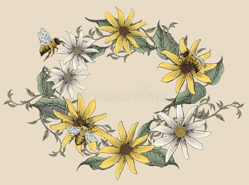 Retro elegant bloemenontwerp royalty-vrije illustratie