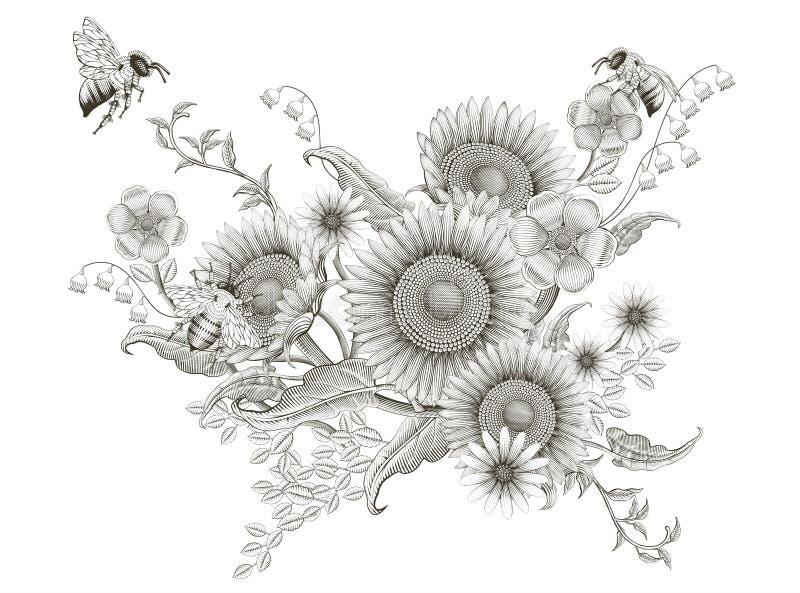 Retro elegant blom- design stock illustrationer