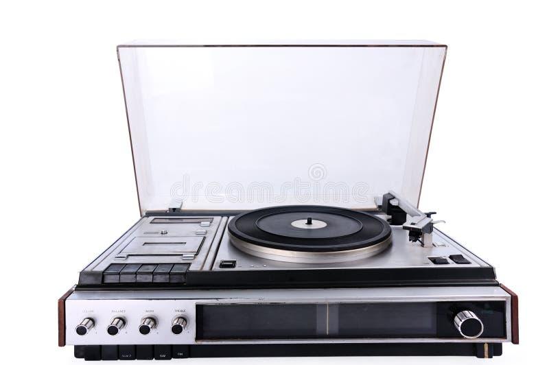 Retro elektroniczny gramofon odizolowywający na białym tle zdjęcia stock