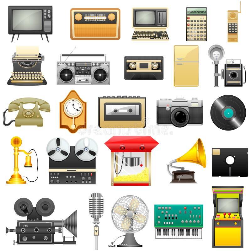 Retro elektronik royaltyfri illustrationer
