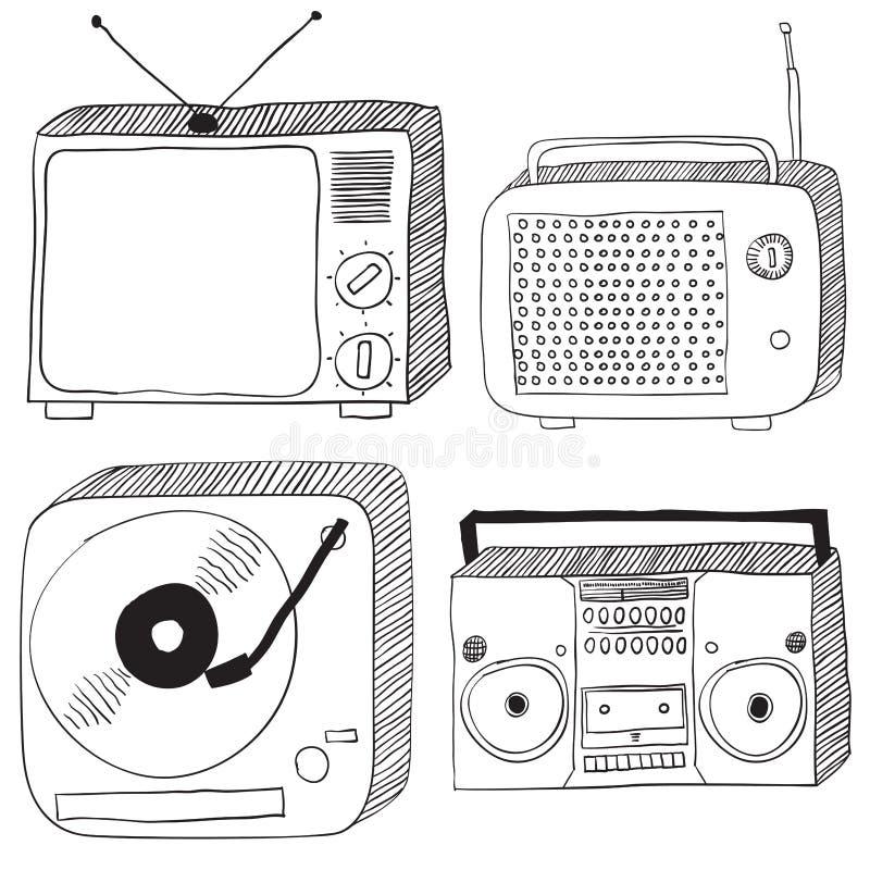 Retro elektronika ilustracja wektor