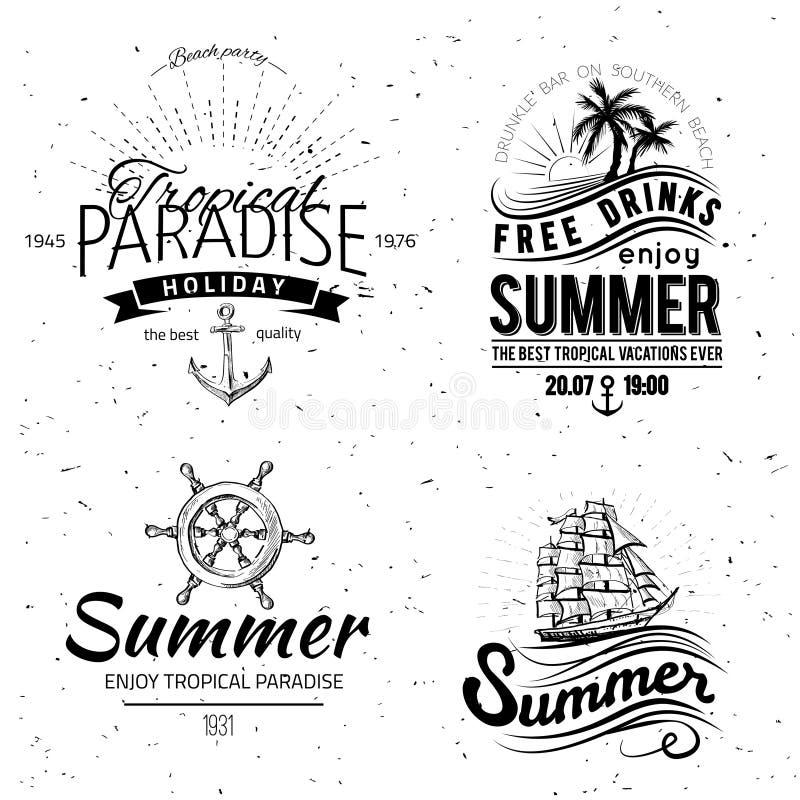Retro elementen voor de Zomer kalligrafische ontwerpen stock illustratie