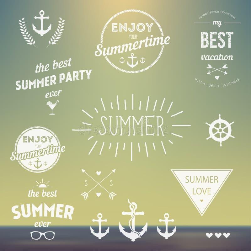 Retro elementi per le etichette d'annata di estate, logo tutto illustrazione vettoriale