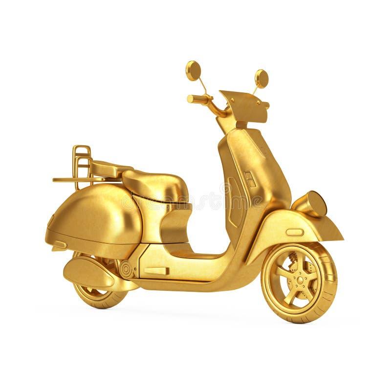 Retro eller elektrisk sparkcykel f?r guld- klassisk tappning framf?rande 3d vektor illustrationer