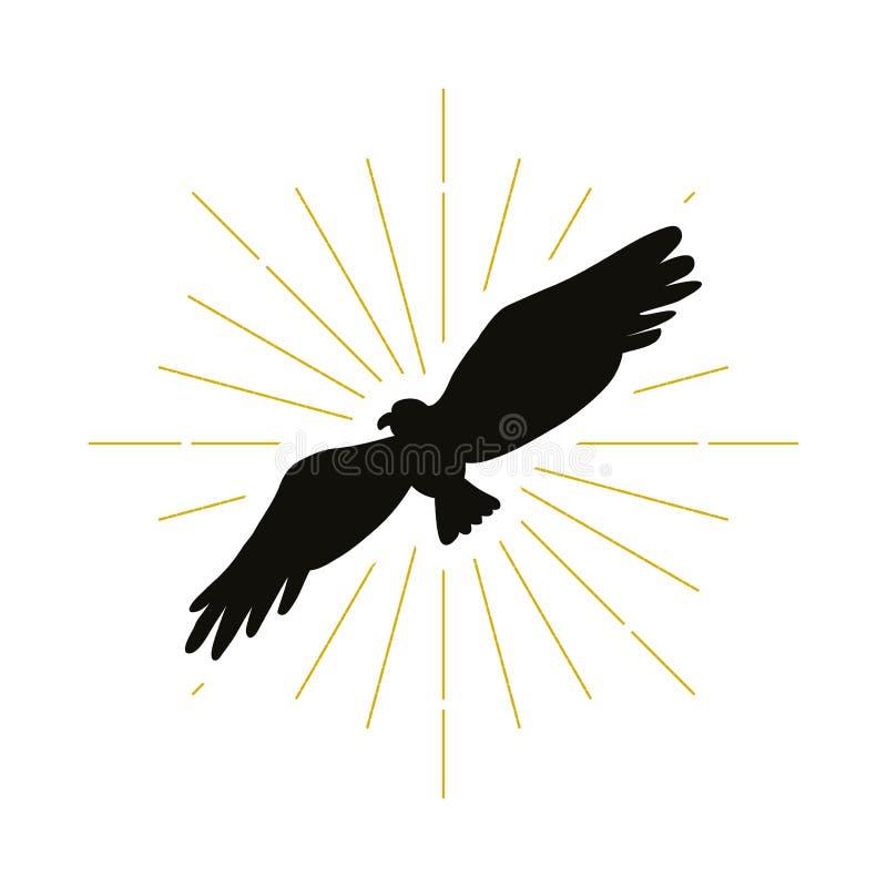 Retro embleem van het adelaarssilhouet stock illustratie