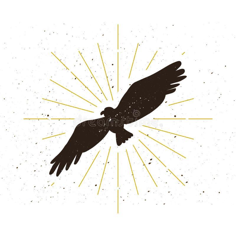 Retro embleem van het adelaarssilhouet royalty-vrije illustratie