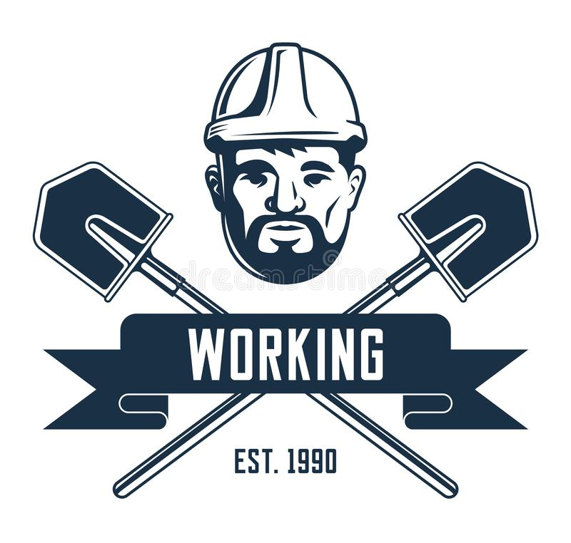Retro emblem av en gruvarbetare i en hjälm stock illustrationer