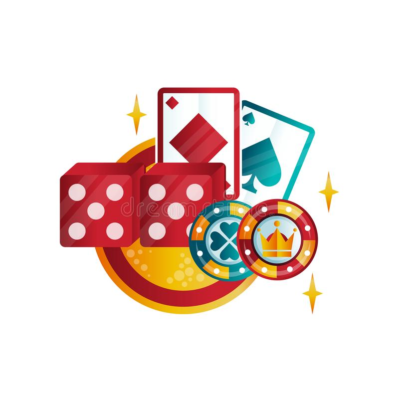 Retro emblem for casino or poker club with playing cards, chips and dice. Games for money. Colorful logo template. Graphic element for mobile application royalty free illustration