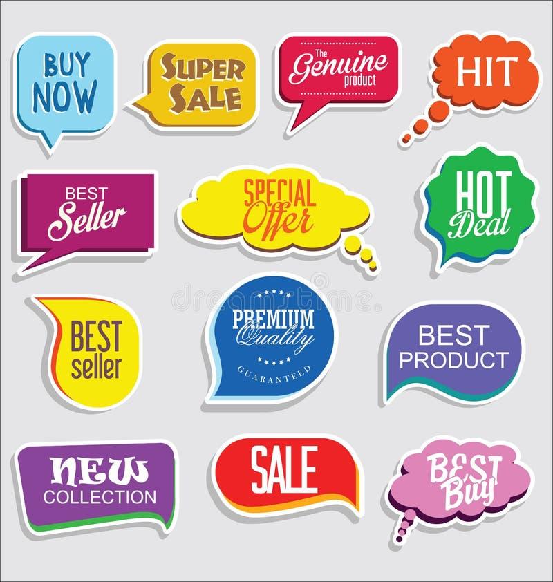 Retro emblem för högvärdig och lyxig silver och klistermärkear för etikettcollectionPromoförsäljning och modern design för etiket vektor illustrationer