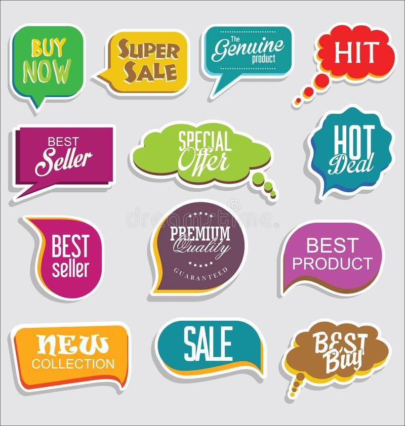 Retro emblem för högvärdig och lyxig silver och klistermärkear för etikettcollectionPromoförsäljning och modern design för etiket royaltyfri illustrationer
