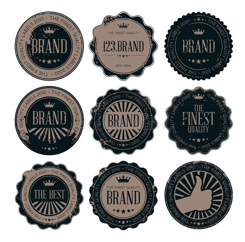 Retro emblem och etiketter för Grungestolpestämpel royaltyfri illustrationer