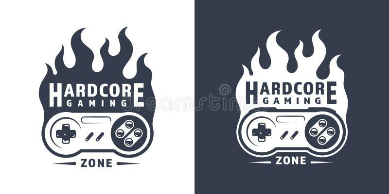 Retro emblema ardente del regolatore del gioco illustrazione di stock