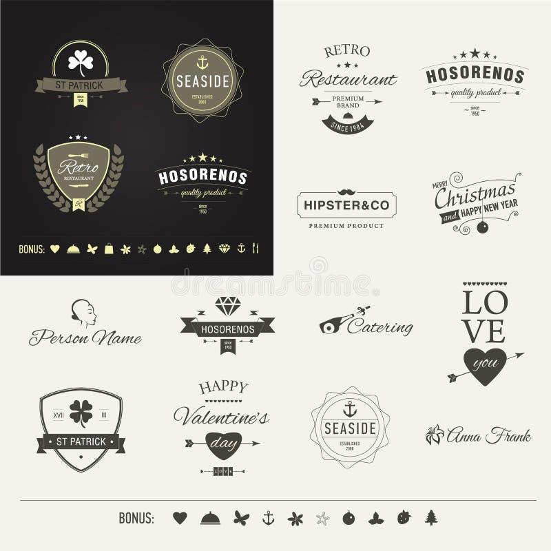 Retro emblema di vettore o pantaloni a vita bassa d'annata Logo Identity Template del segno di affari degli elementi di progettaz illustrazione di stock