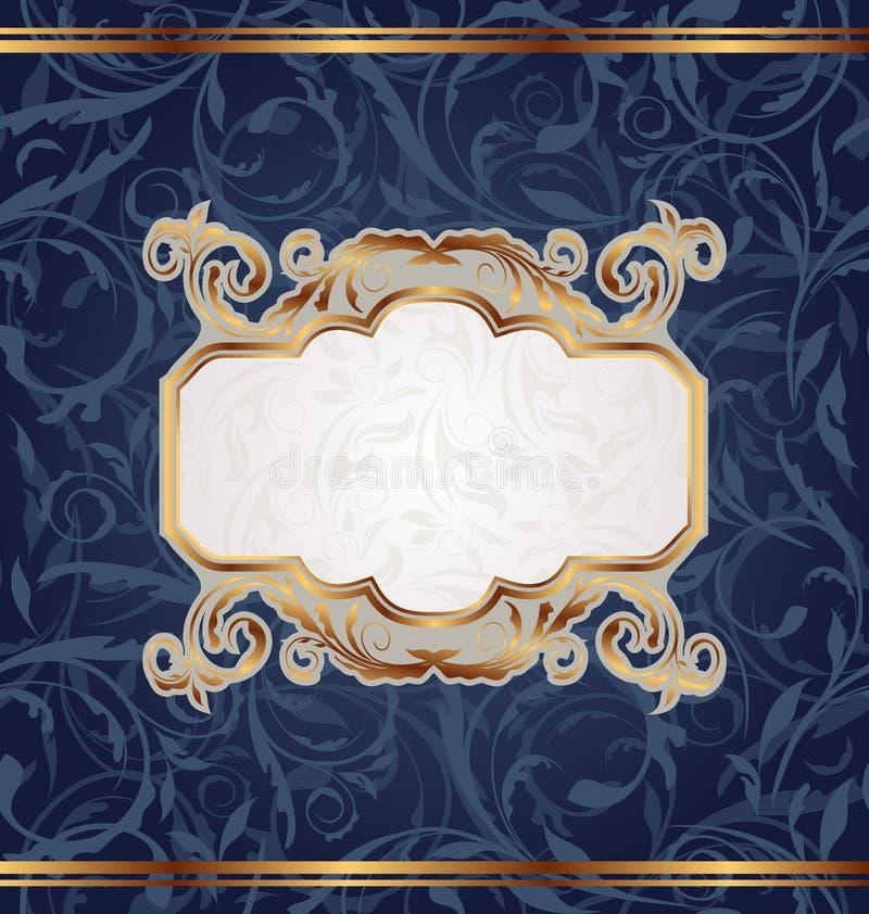 Retro emblema dorato, struttura floreale senza giunte illustrazione vettoriale