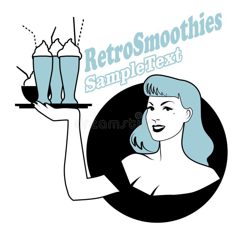 Retro emblemat niesie tacę z smoothies, lody lub zamarzniętym jogurtem pinup dziewczyna, ilustracji