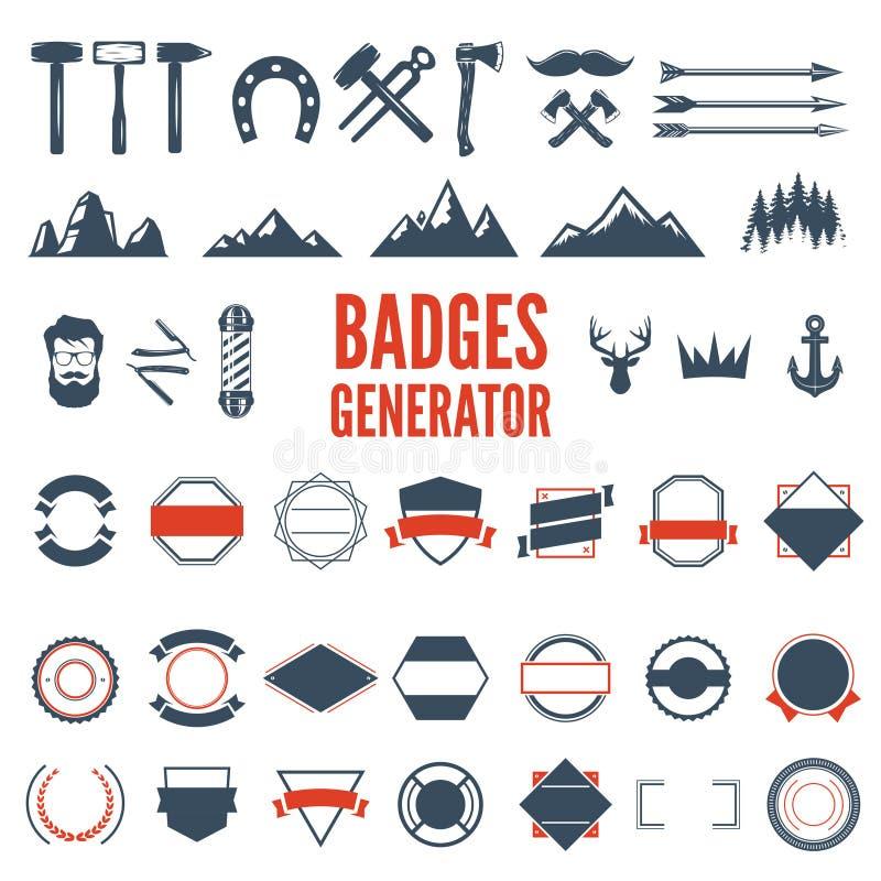 Retro emblemata generator ustawia ikony, odznaki, faborki i inni pożytecznie projektów elementy dla retro emblemata, sztuki świat ilustracji